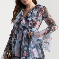 AKIRA Long Sleeve Lightweight Semi Sheer Ruffled Tie Neck Floral Romper