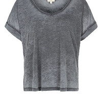 Grey Burnout V Neck Top