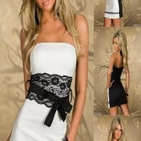 Sexy Strapless White Lace Covered Dress Clubwear Ball Party Evening Cocktail M/L/XL = 5710275649