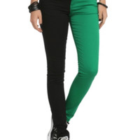 Royal Bones Green And Black Split Leg Skinny Jeans