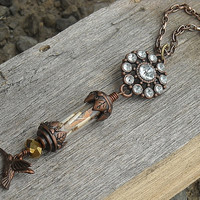 Steampunk Vial Charm Necklace by InkandRoses13