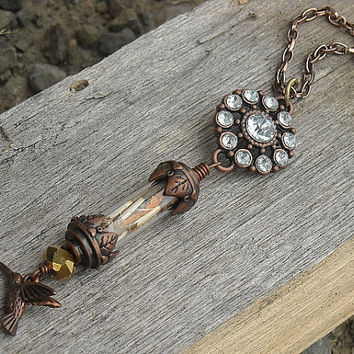 Bottle Necklace Vial Necklace Steampunk Necklace by InkandRoses13