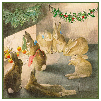 Peter and His Family Celebrate Christmas inspired by Beatrix Potter Counted Cross Stitch or Counted Needlepoint Pattern