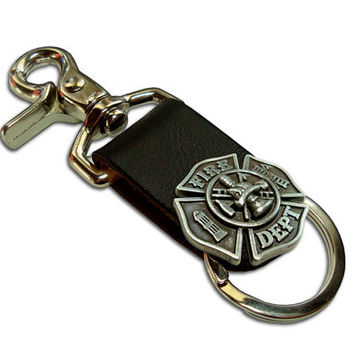 Firefighter Leather Keychain