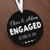 Personalized Chalkboard Engaged Ornament Keepsake Decor - Custom Made to Order