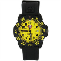Luminox 3055.LM Men's Navy Seal Colormark Yellow Dial Black Rubber Strap Dive Watch