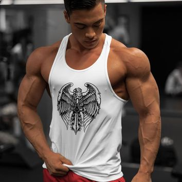 Cotton Gym Tank Top Men Sleeveless Bodybuilding Animal Eagle Printed Tshirt  Fitness Men Clothes 2018 Summer Hip Hop Mens Vest +
