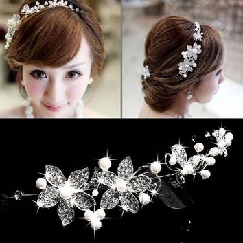 CREYIJ6 Hot Sell Luxury Silver Rhinestone Pearl Bridal Wedding Flower Headband Wedding Tiara Hair Jewelry Hair Clip Comb Women Jewelry