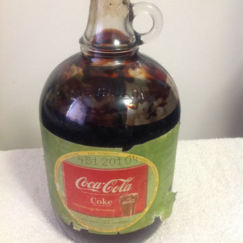 Vintage 1950s Coca Cola Coke One-Gallon Syrup Bottle with Cap And Contents