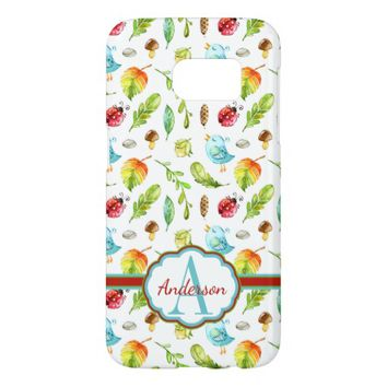 Cute Birds, Leaves, and Ladybugs Monogrammed Samsung Galaxy S7 Case