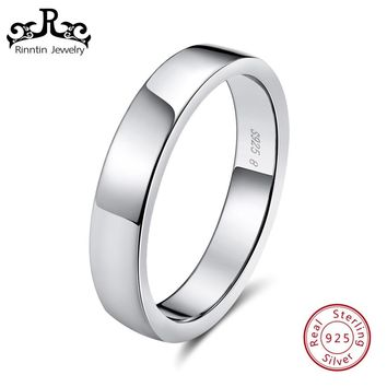 Rinntin Real Sterling Silver Women Wedding Band High Polished Can Engrave Name Date Bar Men Rings Party 925 Jewelry TSR73