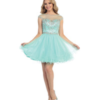 Mint Sheer Beaded Low Back Dress 2015 Homecoming Dresses
