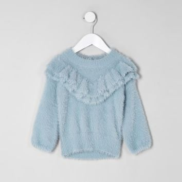 Mini girls blue fluffy ruffle neck jumper - Baby Girls Tops - Mini Girls - girls