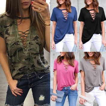 Women Short Sleeve Loose T Shirts Ladies Summer Casual Blouse Tops Shirt US STOC