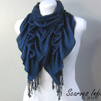 Ruffle Scarf, Pashmina Scarf, Deep Teal Blue Scarf by Scarves Infinity