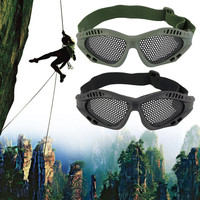 Durable Outdoor Eye Protective Safety Tactical Metal Mesh Glasses Goggle free shipping
