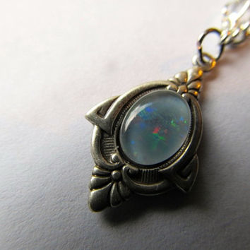 Opal Necklace Fire Opal Necklace Art Nouveau Necklace Sterling Silver Necklace 1920s Necklace- Priscilla's Necklace 2