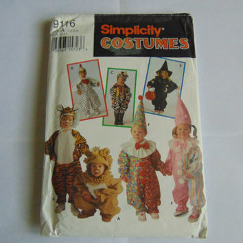 Simplicity Pattern 9116 Halloween Toddler Costume Tiger Lion Witch Cow Sizes 1-4