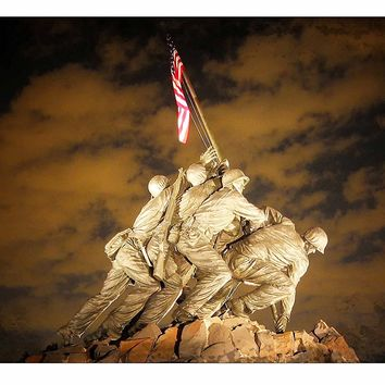 US Marine Corps War Memorial (Iwo Jima) Picture on Canvas Hung on Copper Rod, Ready to Hang, Wall Art Décor