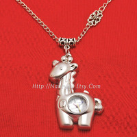 Silver tone Giraffe Pocket Watch Necklace, with Silvery Watch Chain, 88P219