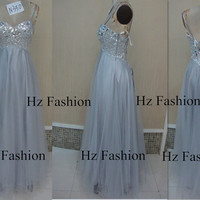 2014 silver long gown, grey formal dress, Strapless floor length prom dress