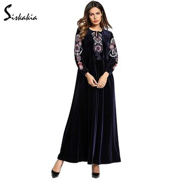Siskakia vintage ethnic Embroidery Velvet long Dress Spring Autumn 2018 tassel drawstring design maxi dresses women Navy Blue