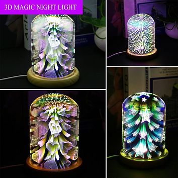 3D Night Light Magic Desk Table Lamp with Glass Cover LED USB Atmosphere Light