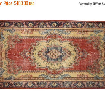 ON SALE Brick Red Field With Medallion Turkish Vintage Rug With French Design 7'6'' x 4'1''  Free Shipping