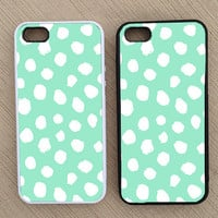 Cute Preppy Mint Polka Dot iPhone Case, iPhone 5 Case, iPhone 4S Case, iPhone 4 Case - SKU: 227