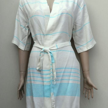 Turquoise striped women's kimono style short bathrobe, dressing gown, bridesmaid robe, beach cover up, summer robe.