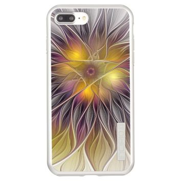 Luminous Colorful Flower, Abstract Modern Fractal Incipio DualPro Shine iPhone 7 Plus Case
