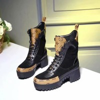 LV  Women Casual Shoes Boots fashionable casual leather Women Heels Sandal Shoes