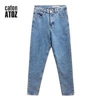 catonATOZ 1886 New Arrivals Women High Waisted Jeans OL Denim Pants Trousers Mom Jeans For Woman