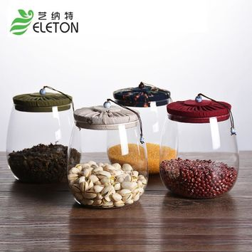 ELETON cork glass tea pot cover sealed bottle creative transparent candy tea grains storage tank Mason Jars Kitchen accessories