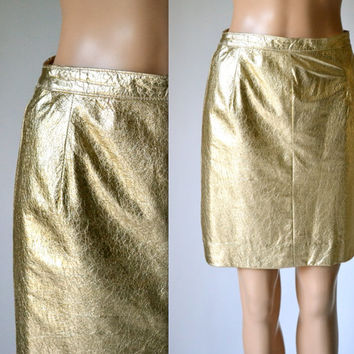 Vintage Metallic Gold Leather Skirt Size Small Medium