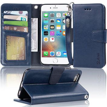 DCCKRQ5 Iphone 6s Case, iphone 6 case, Arae Apple Iphone 6 / 6s [Wrist Strap] Flip Folio [Kickstand Feature] PU leather wallet case with ID&Credit Card Pockets (blue)