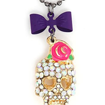 Crystal Sugar Skull Necklace Purple Bow NS11 Gothic Pink Rose Skeleton Pendant Fashion Jewelry