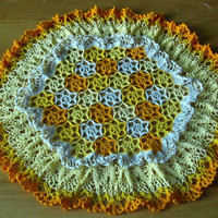 Yellow Flower Doily with Double Ruffled Lace - Field of Flowers Crochet Doily - Handmade Vintage Style Flower Lace Decor - Yellow and Orange