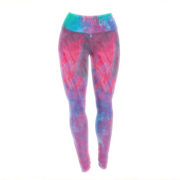 "NL Designs ""Bold Choice"" Teal Painting Yoga Leggings"