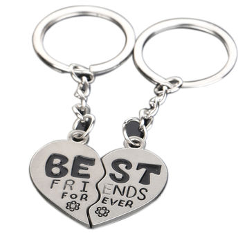 2Pcs Pair Creative Model Friendship Keyrings Charm Best Friend Forever Keychains Zinc Alloy Gifts For Women  SM6