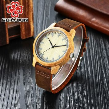 Wooden Watches Women Genuine Leather Quartz Casual Classic Watches Men Luxury Brand Bamboo Wooden Case Clock Japan 2035 Movement