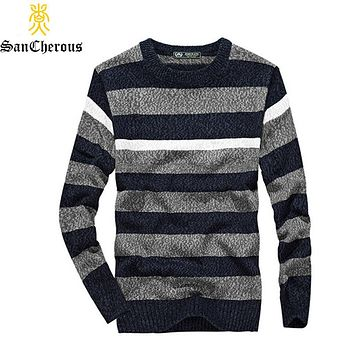 2019 Casual Men Winter Sweater O-Neck Striped Pullovers Men Cotton Sweater Size M-3XL   52 0.5