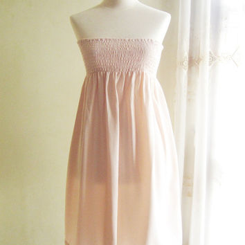 Smocked Strapless Dress in Pastel Peach Color by CielleBoutique