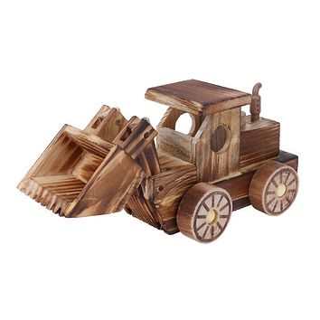 Kids Wooden Toy Simulation Bulldozer Wood Car Model Crafts Children Desk Table Decorative Ornaments for Boys Girls Gift
