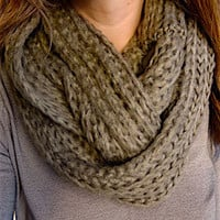 Soft Knit Infinity Scarf - Taupe/Brown
