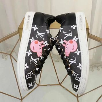 LV x Peppa Pig co-branded new tide brand low to help women's fashion full printed logo sneakers Black