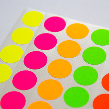70 green neon sticker circle sticker paper circle label round