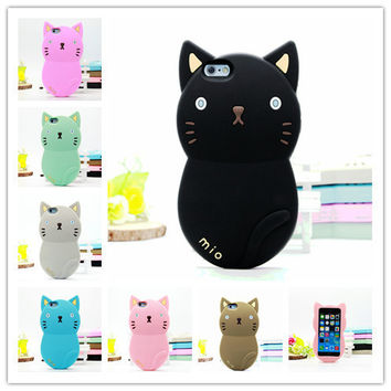 2016 Newest 3D Cute Lovely Cartoon Animal Cat  Soft Silicone Rubber Case Cover for iPhone7 7S 7 7Splus iPhone 5 5S 5C C 4 4S SE 6 6S Plus