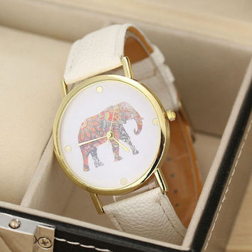 Women Elephant Printing Pattern Weaved Leather Quartz Dial Watch - White