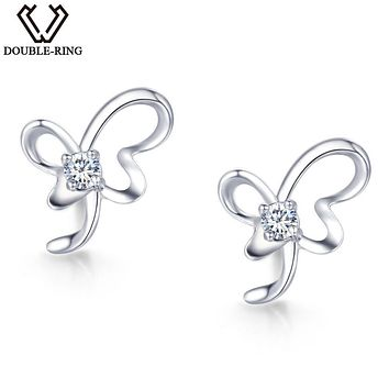 DOUBLE-R Real Diamond Earrings 0.04ct Women Butterfly 925 Sterling Silver Stud Earrings Valentine'S Day Gift Diamond Jewelry